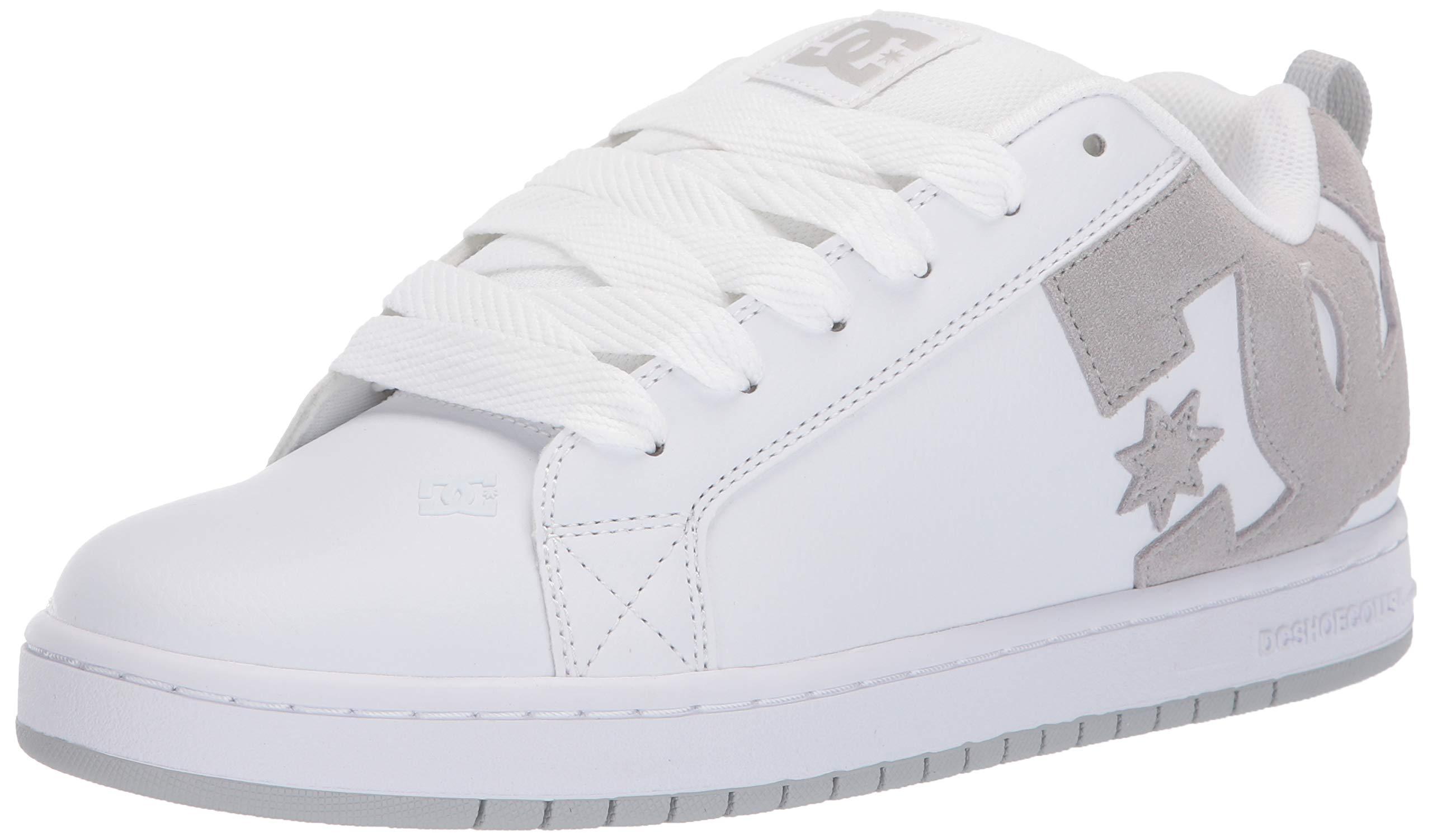 DC Men's Court Graffik Skate Shoe, White Grey, 6 M US