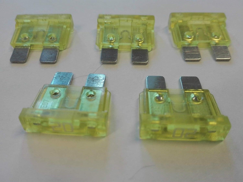50 x Flachstecksicherung ATO-Sicherung 20A 32V gelb