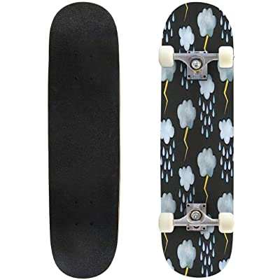 Classic Concave Skateboard Cute Seamless Pattern for Textile Fabric Design Wall Paper Wrapping Longboard Maple Deck Extreme Sports and Outdoors Double Kick Trick for Beginners and Professionals : Sports & Outdoors