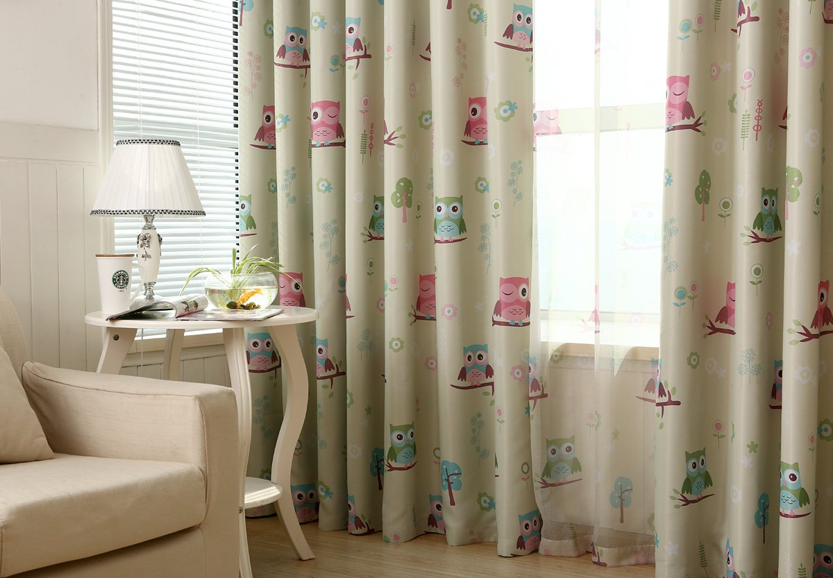 Gyrotex Children Kids Cartoon Print Owl Blackout Curtain Thermal Insulated Washable Cream Drape Noise Reducing No Formaldehyde.
