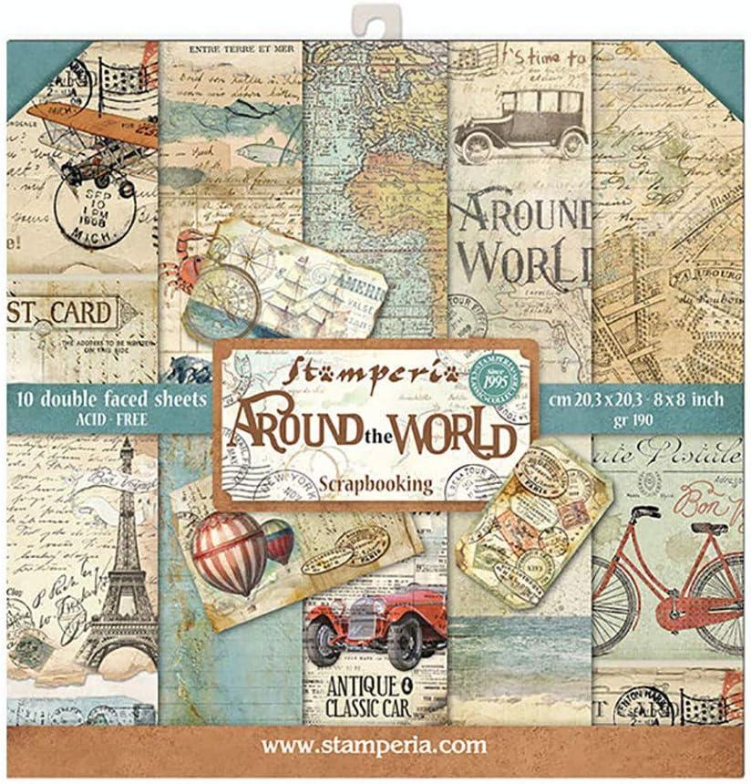 STAMPERIA Around The World-Bloc de Papel (10 Hojas, 20,3 x 20,3 cm, Doble Cara), Multicolor, 20.3 x 20.3 (8