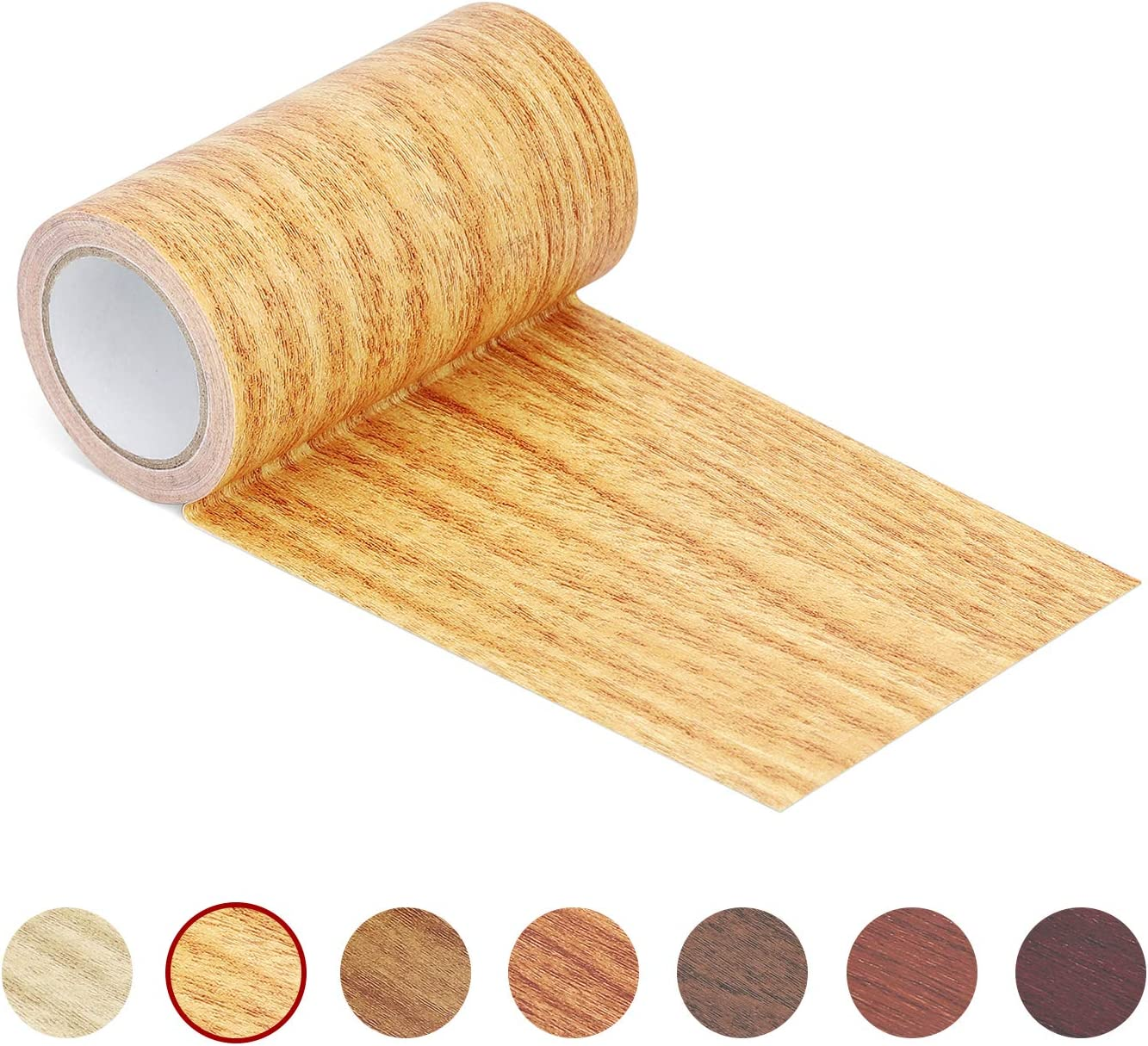 "Repair Tape Patch 2.4"" X15' Wood Textured Adhesive for Door Floor Table and Chair(Natural Oak)"