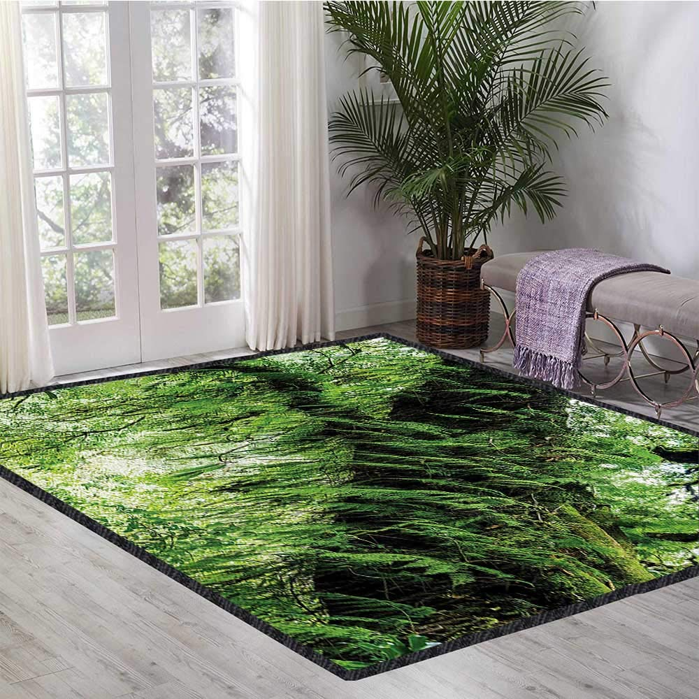 Rainforest, Kids Carpet Playmat Rug, Idyllic Atmosphere in Tropical Jungle on Springtime Natural Relaxation Theme, Bath Mat for tub Bathroom Mat 6x7 Ft Green Brown