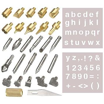 28 piezas puntas de pirograbado Leña Kit, gochange puntas ...