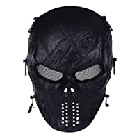 YFNT Tactical Airsoft Mask Full Face Skull Mask with Metal Mesh Eye Protection CS War Game Mask