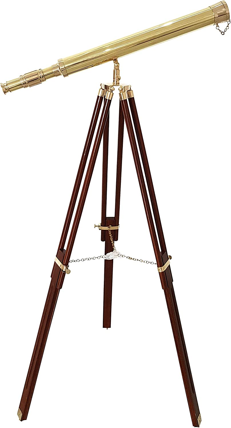 A Shiny Brass Nautical Single Barrel Telescope Wooden Tripod Ideal Home Decor Brass Finish & Brown