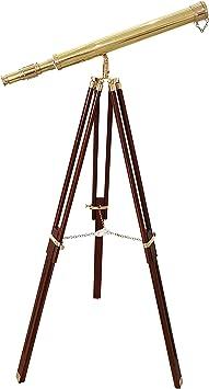 "Marine Nautical Navy Brass Double Barrel Telescope 27/"" With Brass Tripod Stand"