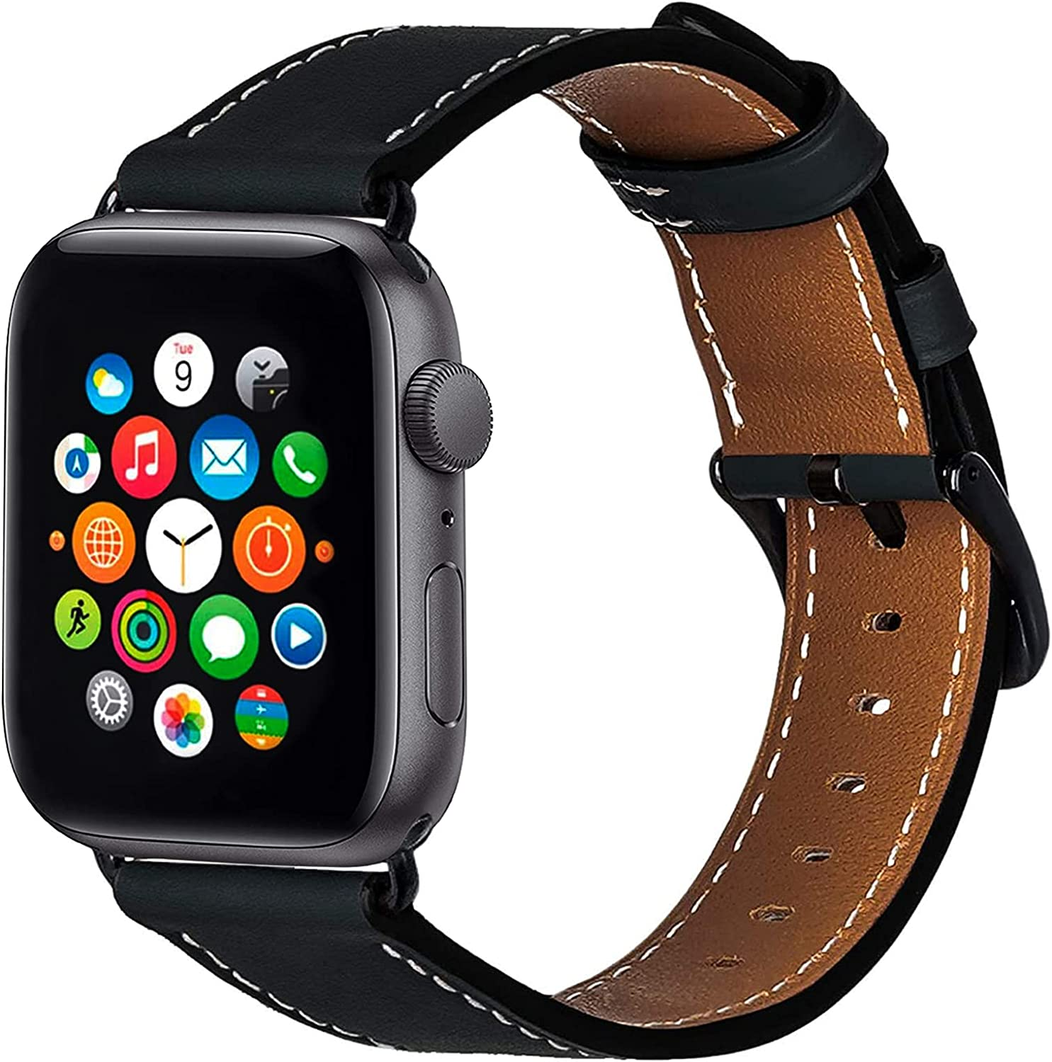 ALADRS Watch Straps Compatible for Apple Watch Leather Band 44mm 42mm, Wristbands Replacement for iWatch Series 6 5 4, SE (44mm) Series 3 2 1 (42mm), Black