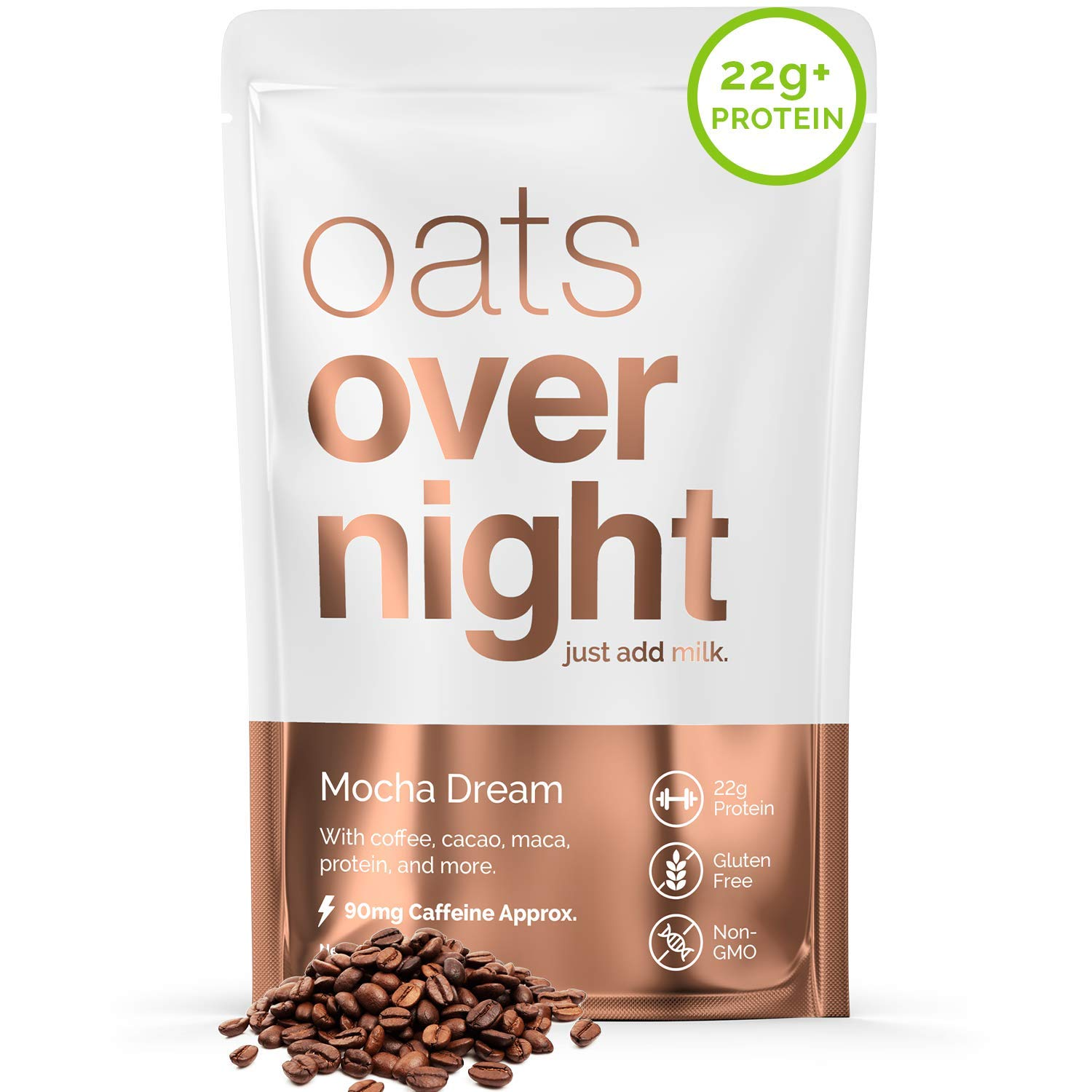 Oats Overnight - Mocha Dream (16 Pack) High Protein, Low Sugar Breakfast with Coffee - Gluten Free, High Fiber, Non GMO Oatmeal (2.7oz per pack)