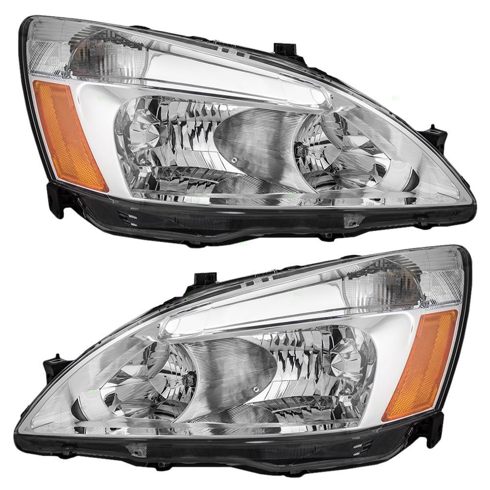 Driver and Passenger Headlights Headlamps Replacement for Honda 33151-SDA-A01 33101-SDA-A01 DEPO