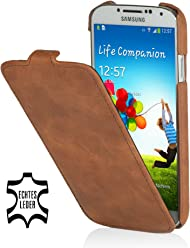 Custodia esclusiva Stilgut UltraSlim in pelle per Samsung Galaxy S4 i9500 e i9505 - Cognac (Vintage)