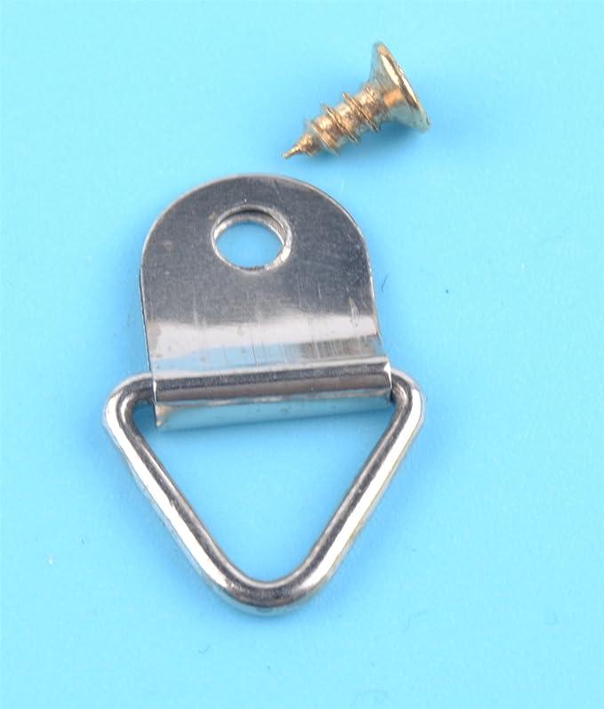 Gold D-Ring Bilderrahmen Aufhänger Single Hole mit Schrauben 50 PCS Haken
