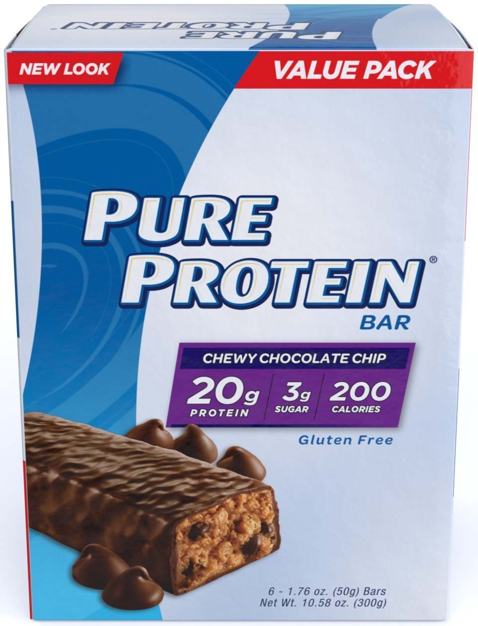 Pure Protein Chewy Chocolate Chip Value Pack, 36 Bars -1.76 oz
