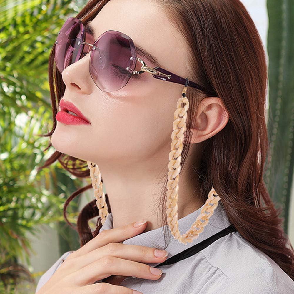 Arancia VASSAGO Fashion Acrilico Twist Link Occhiali da lettura Collana Catena Resina Occhiali da sole Supporto per occhiali Fermo per occhiali da donna