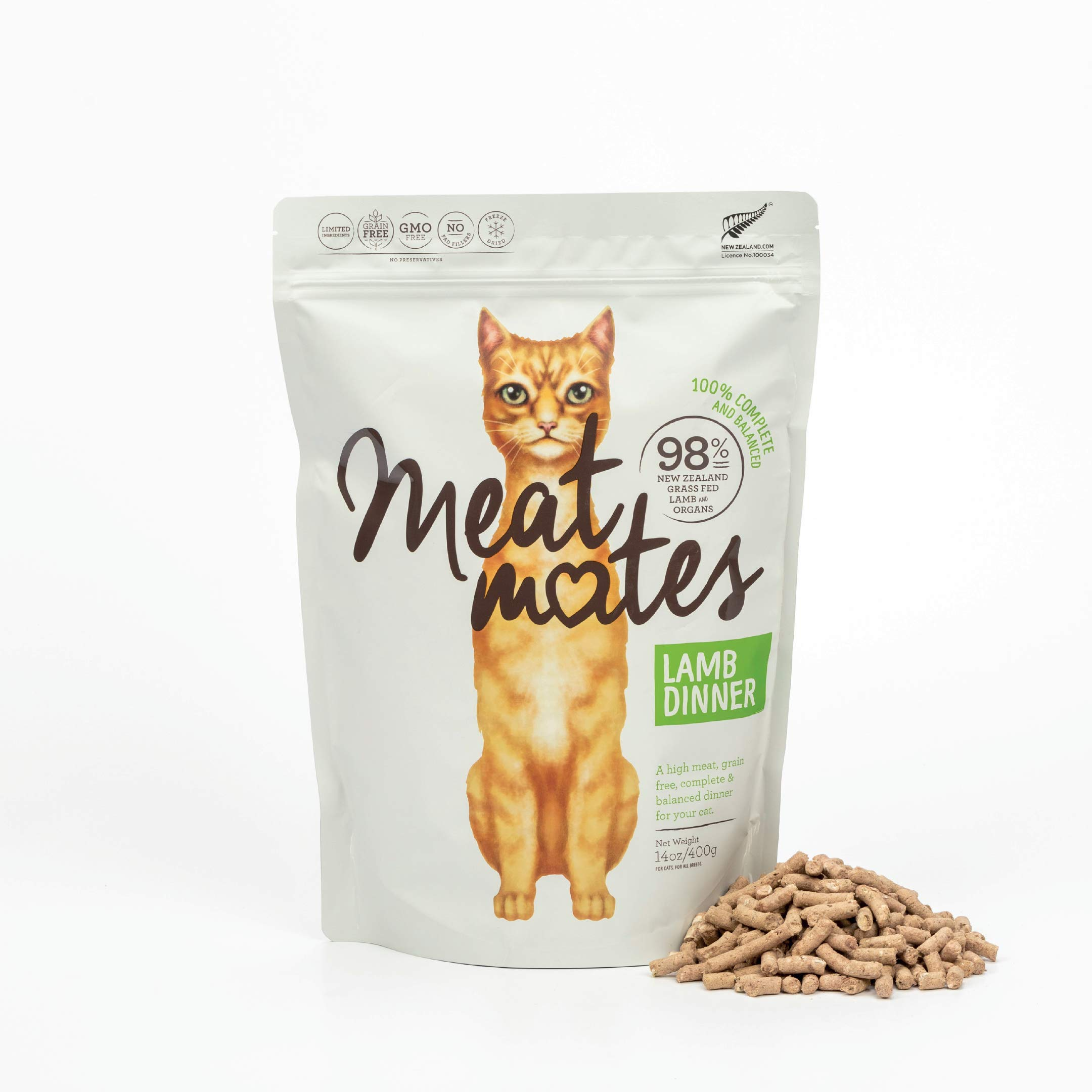 Meat Mates Lamb Dinner, Grain-Free Freeze Dried Cat Food 14oz by Meat Mates