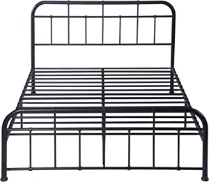 LUCKYERMORE 12 Inch Metal Bed Frame Full Size, Sturdy Iron Platform Bed Frame with Headboard and Footboard, Mattress Foundation, No Box Spring Needed, Black