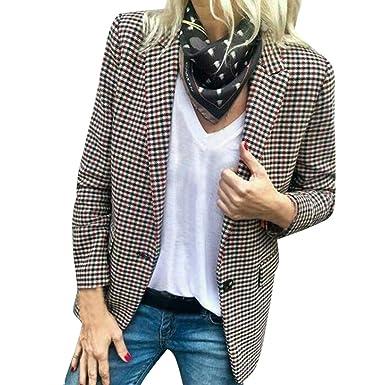 Yvelands Mujer Casual Traje a Cuadros Blazer Chaqueta de Abrigo Outwear Cardigan Trabajo Overcoat Jacket: Amazon.es: Ropa y accesorios