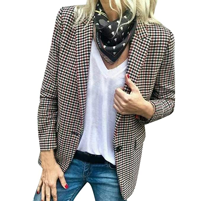 Sikye Womens Chic Plaid Suit Jacket Cardigan Casual Office ...