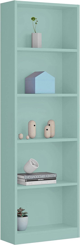 Habitdesign Estantería Juvenil 6 baldas, Librería Vertical, Modelo I-Joy, Acabado en Color Verde Acqua, Medidas: 180 cm (Alto) x 52 cm (Ancho) x 25 cm ...
