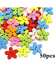 100PCs Wood Buttons Sewing Scrapbooking Flowers Shaped 2 Holes Mixed