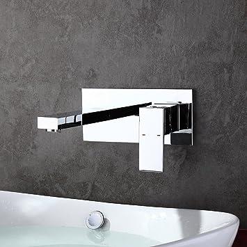homelody robinet mural mitigeur encastrer chrom design pour lavabo vasque mousseur abs monocommande robinetterie salle - Mitigeur Mural Salle De Bain