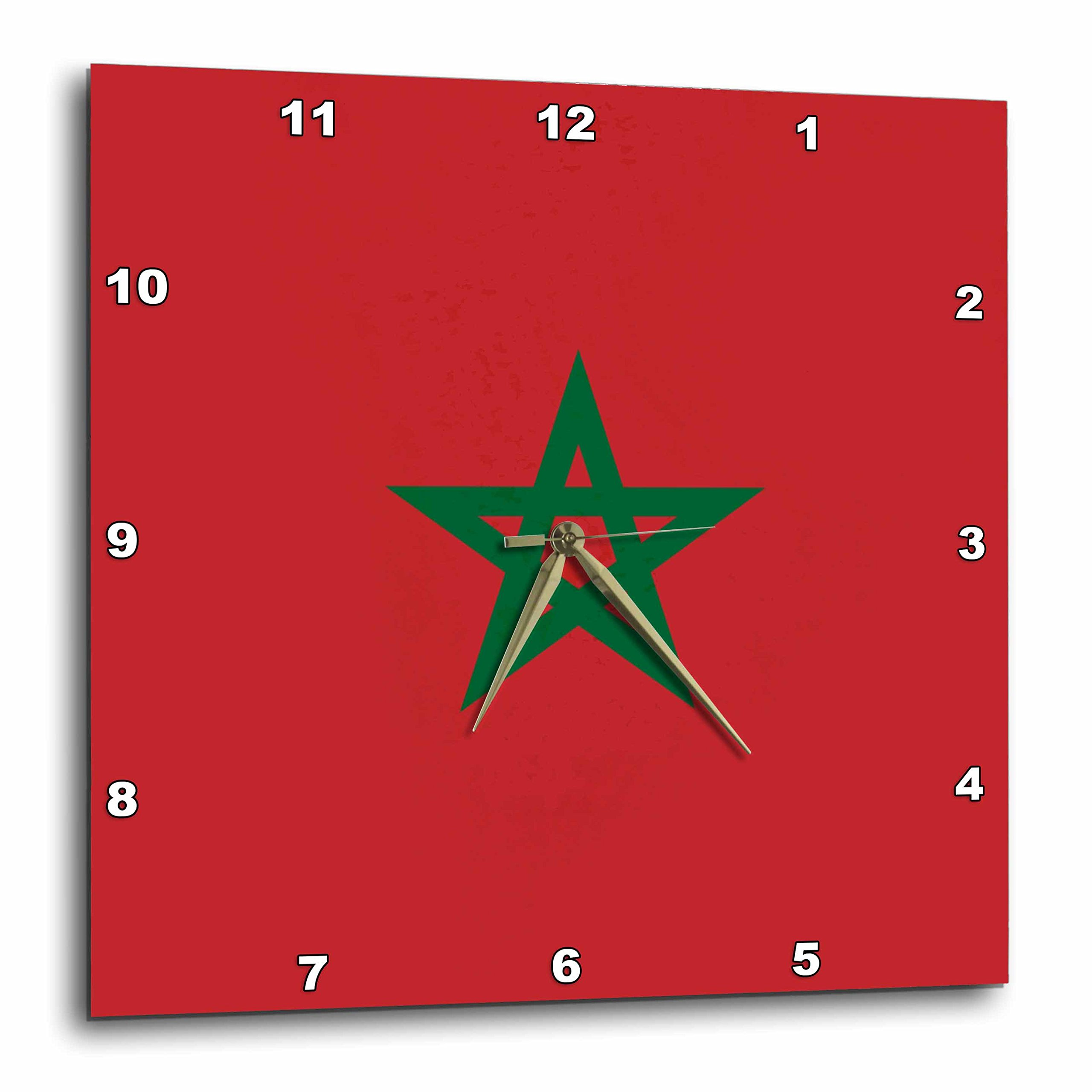3dRose DPP_158383_3 Flag of Morocco Moroccan Red with Green Pentagram Star Seal Ensign Africa African World Country Wall Clock, 15 by 15-Inch