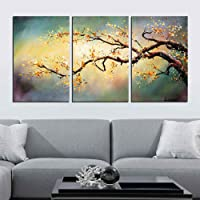 ARTLAND Modern 100% Hand Painted Flower Oil Painting on Canvas Yellow Plum Blossom 3-Piece Gallery-Wrapped Framed Wall Art Ready to Hang for Living Room for Wall Decor Home Decoration 16x36inches