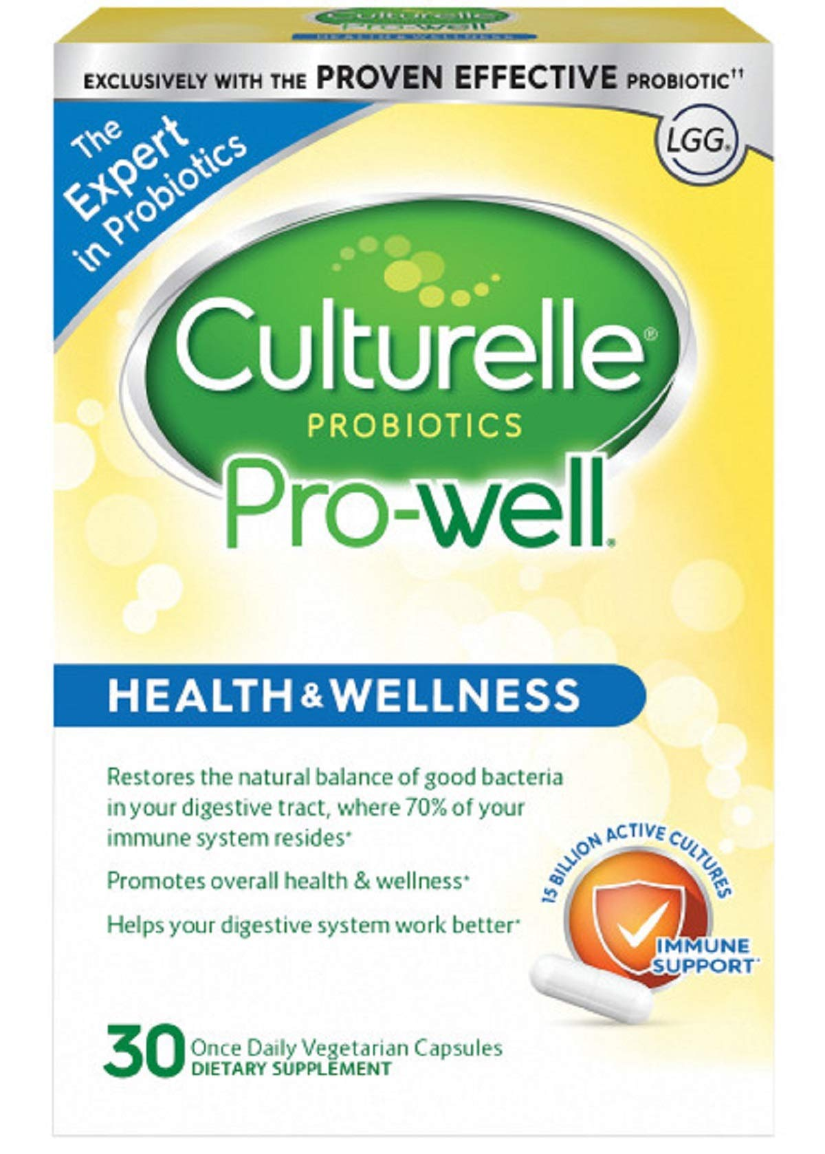 Culturelle Pro-Well Health & Wellness Daily Probiotic Dietary Supplement   Restores Natural Balance of Good Bacteria in Digestive Tract*   With the proven effective Probiotic   30 Vegetarian Capsules by Culturelle