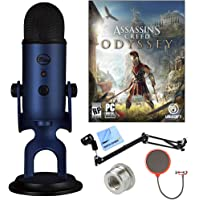BLUE MICROPHONES Midnight Blue Yeti with Assassins Creed Odyssey Digital PC Version Plus Microphone Boom Scissor