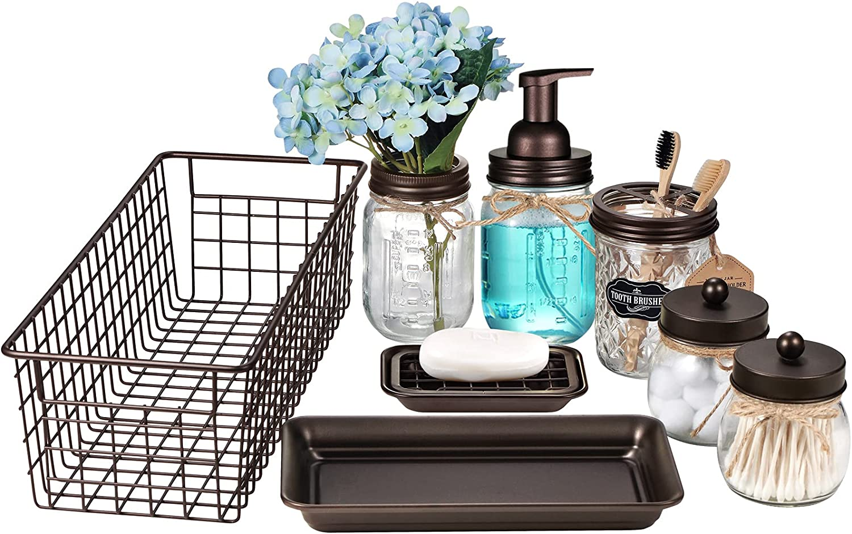 Mason Jar Bathroom Accessories Set 8 Pcs -Foaming Soap Dispenser,Toothbrush Holder,2 Apothecary Jars, Flower Vase,Soap Dish,Vanity Tray,Toilet Paper Holder Storage Bin,Vintage Farmhouse Decor (Bronze)