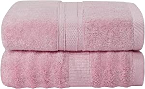 PiccoCasa Bamboo Cotton Bath Towels 2pcs 27x54 Inch Extra Absorbent and Eco-Friendly Luxury Hotel Spa Towel 2 Style Pink