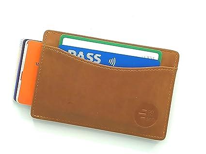 GOANSEE Cartera Monedero RFID compacta, Tarjetero Billetero Slim de Piel para Hombre y Mujer con Bloqueo antirrobo. Billetera Fina con Gran Capacidad