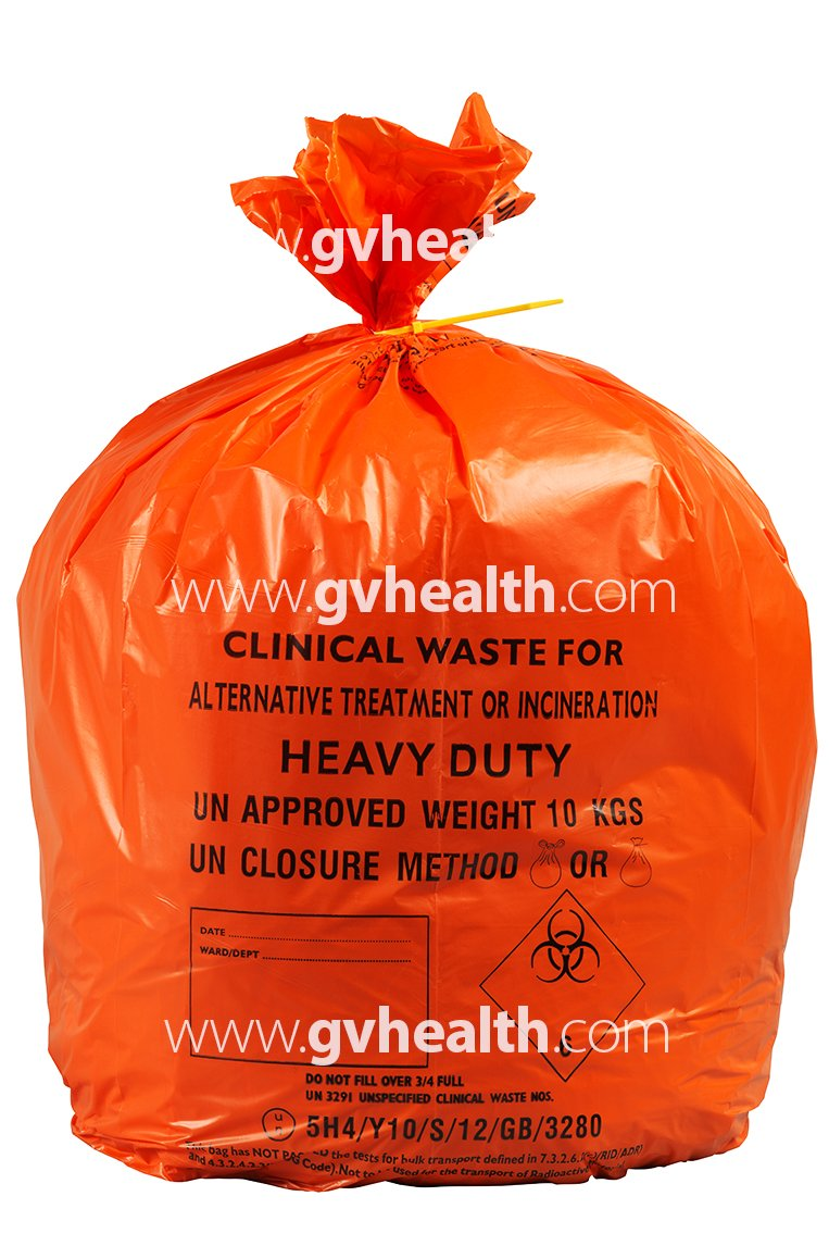 30L Small Orange Medium Duty Clinical Waste Bags (500 Bags) GV Health AT50/CWMD3
