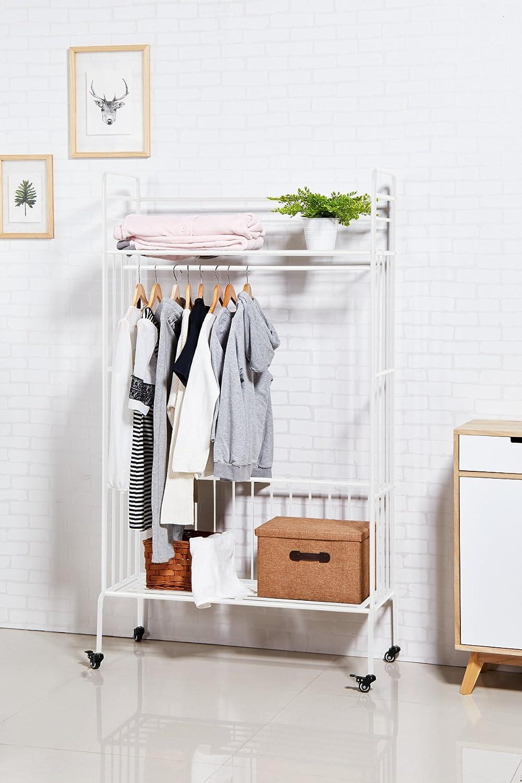 Perchero con estantes de ropa Clásico Ropero de metal con Ruedas 100 x 42 x 180