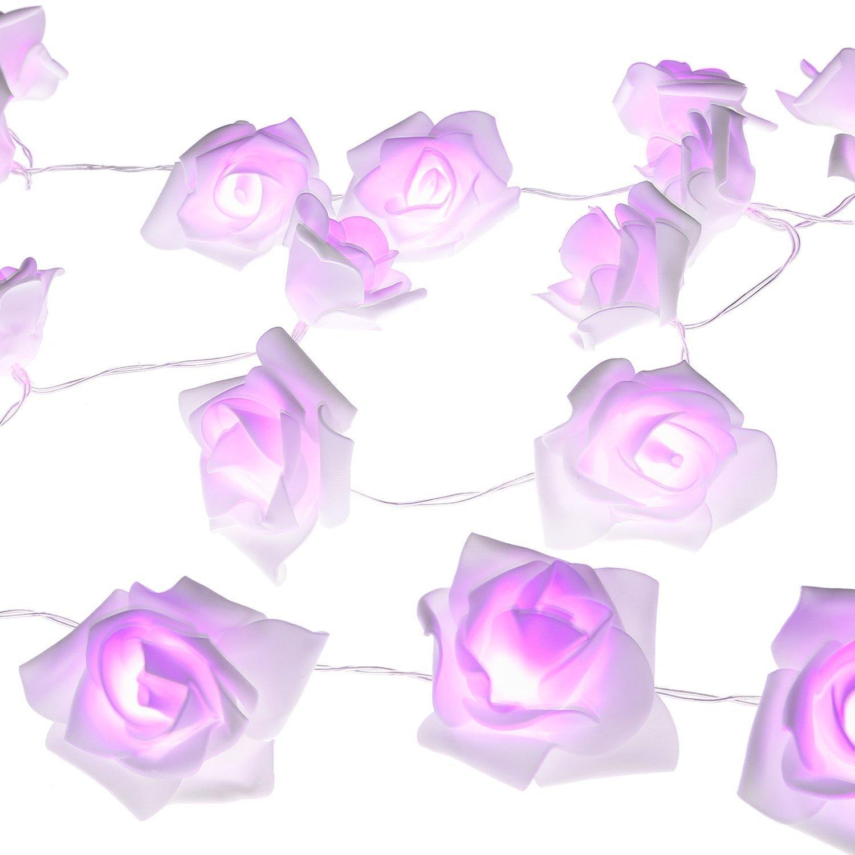 LUXJET Rose LED String Lights Battery Powered Fairy Light for Room, Home, Party, Festival, Wedding Decoration(30LED,3M,Purple)