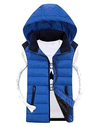 Tailloday Herren Kapuzenweste Sport Casual Weste ärmellose Daunenweste Jacke Winter Hooded mit Reißschluss