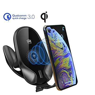 Wireless Car Fast Charger (Additional Needs QC3.0 Adatpter,Not Included) with Car Holder 10W 7.5W Qi Fast Charging Gravity Auto-Clamping Car Mount, Air Vent Phone Holder for iPhone 11,Samsung Galaxy