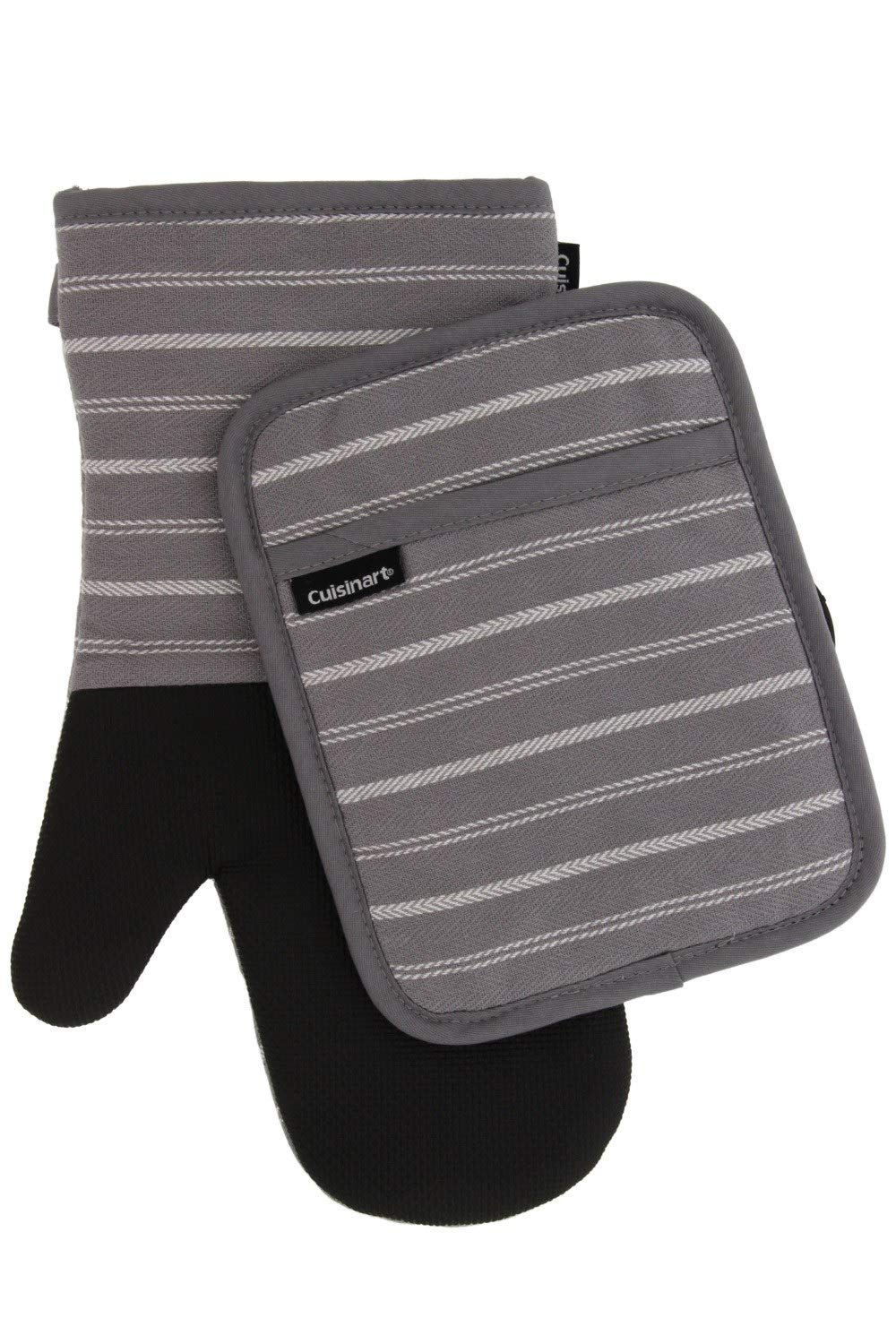 Cuisinart Kitchen Oven Mitt/Glove & Rectangle Potholder with Pocket Set w/Neoprene for Easy Gripping, Heat Resistant up to 500 Degrees F, Twill Stripe- Titanium Grey