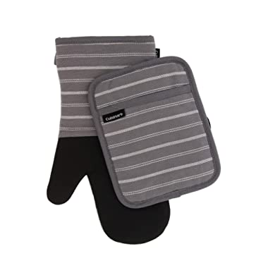 Cuisinart Neoprene Oven Mitts and Potholder Set-Heat Resistant Oven Gloves to Protect Hands and Surfaces with Non-Slip Grip, Hanging Loop-Ideal for Handling Hot Cookware Items,Twill Stripe Titan. Grey
