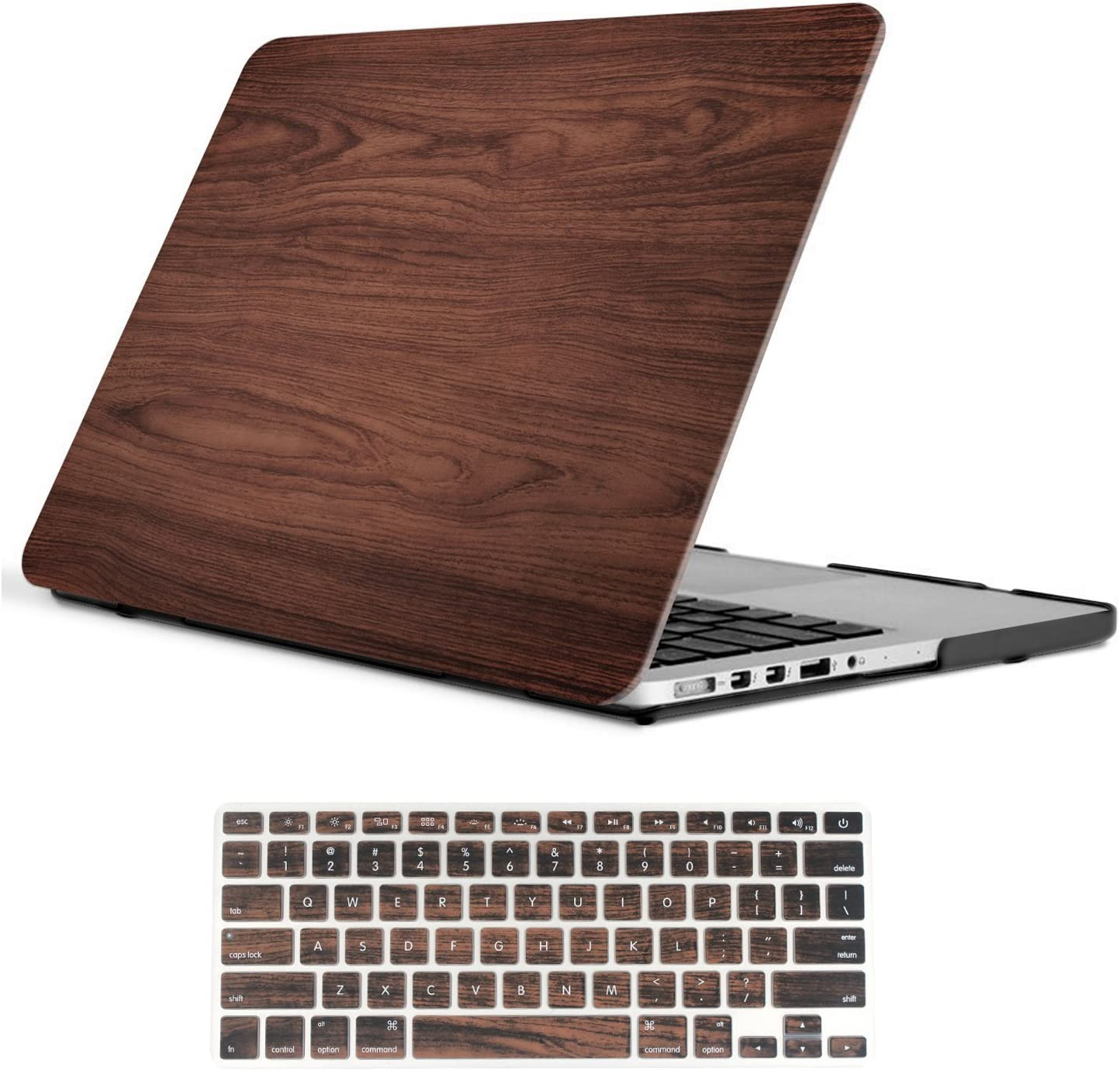 Macbook Pro 13 inch Case Model A1425/A1502 (Release 2015 - end 2012), iCasso Hard Plastic Shell Case Protector with Keyboard Cover Only Compatible Old Version MacBook Pro 13'' Retina Display - Brown