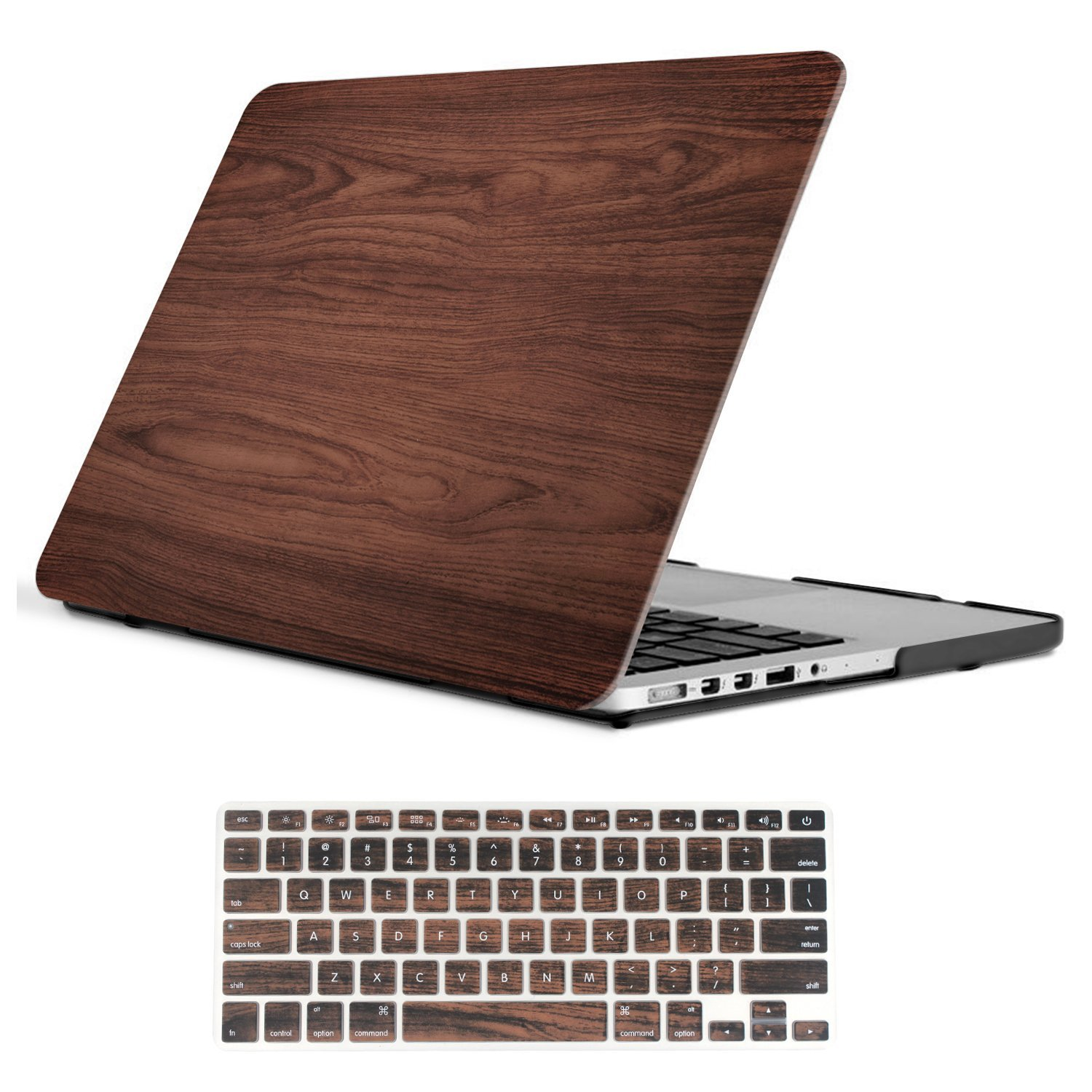 iCasso Macbook Pro 13 Retina Case Rubber Coated Hard Shell Protective Cover For Macbook Pro 13 Inch Retina (No CD-ROM) Model A1425/A1502 (2012-2015 Version) With Keyboard Cover (Wood)