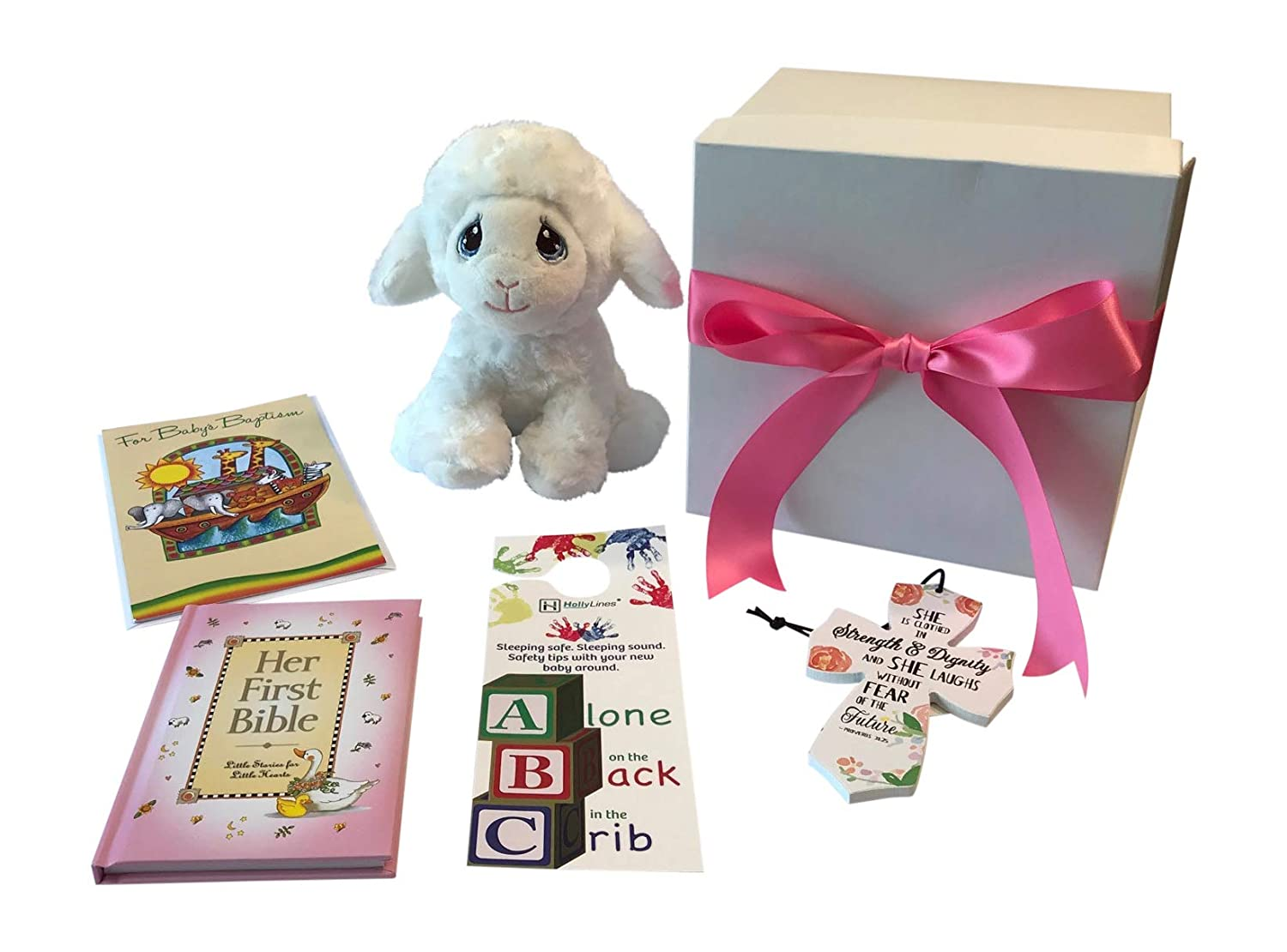Bible Cross Card Baptism Gift Set for Baby Girl with Aurora Lamb