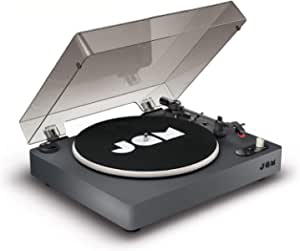 Jam Spun Out Bluetooth Turntable, Vinyl Record Player, 3 Belt Drive for Superior Sound, Built-in Bluetooth Connectivity, Headphone Jack Output and Aux-in, Includes Dust Cover - Black