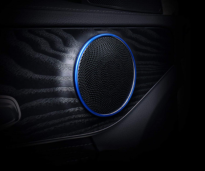 Xotic Tech 4pcs Blue Aluminum Car Door Audio Speaker Ring Cover Trim Decal for Mercedes Benz W205 C-Class GLC Class GLC200L 2015+