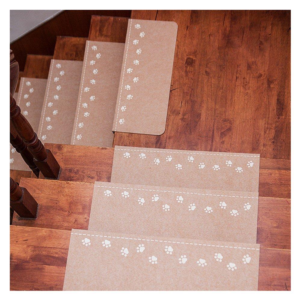 X-Life Teppich Teppich Teppich Stufenmatten Treppenstufen Stufenschutz für Ihre Treppe, Nacht Luminous Pads, Leuchtende Stock Treppe Teppiche, Anti-Rutsch 55x22cm (Beige-Rechteckig-13 Stück) 765c91