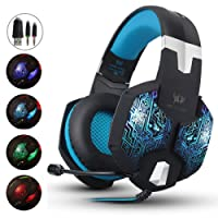AIZBO Gaming Headset LED Over-Ear Headphone Stereo Headset Mic,USB & 3.5mm PC Computer Laptop (Blue)