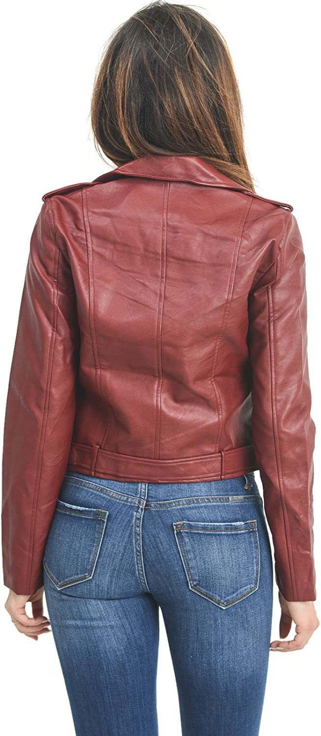 JK50713 Burgundy, Medium Design by Olivia InstarMode Womens Ultimate Faux Leather Moto Biker Short Coat Jacket