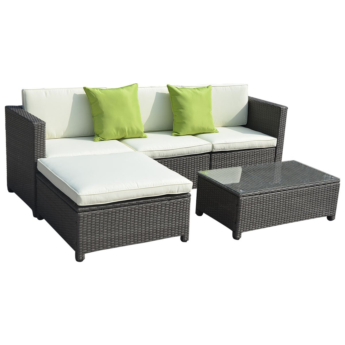 Tangkula 5PC Outdoor Patio Sofa Set Sectional Furniture PE Wicker Rattan Deck Couch (Brown)