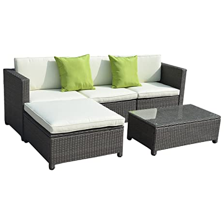 Goplus5PC Outdoor Patio Sofa Set Furniture PE Wicker Rattan Deck Couch  Gradient Brown