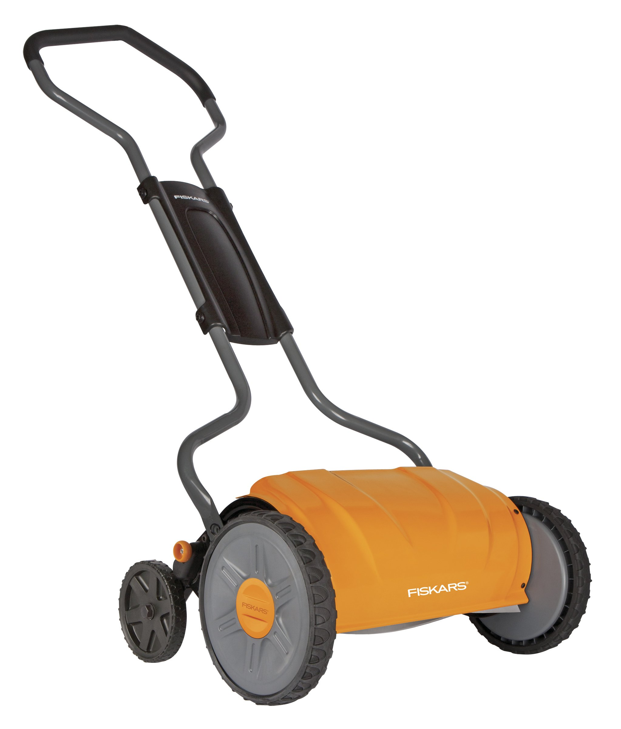 Fiskars 17 inch Staysharp Push Reel Lawn Mower (6208) (Pack of 2) 1 The smart design of our eco-friendly reel mower offers a cleaner cut without the hassles of gasoline, oil, battery charging, electrical cords or loud engine noise A combination of advanced technologies make the StaySharp Reel Mower 30 percent easier to push than other reel mowers Patent-pending InertiaDrive Reel delivers 50 percent more cutting power to blast through twigs, weeds and tough spots that would jam other reel mowers